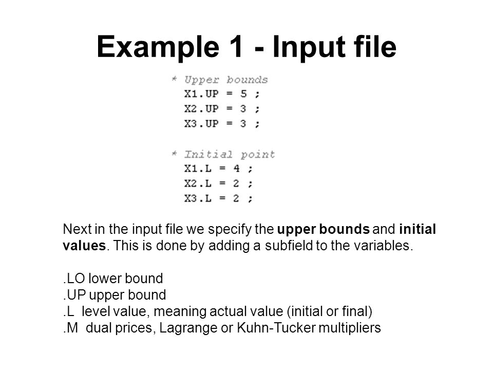 Example 1 - Input file Next in the input file we specify the upper bounds and initial values. This is done by adding a subfield to the variables..LO l