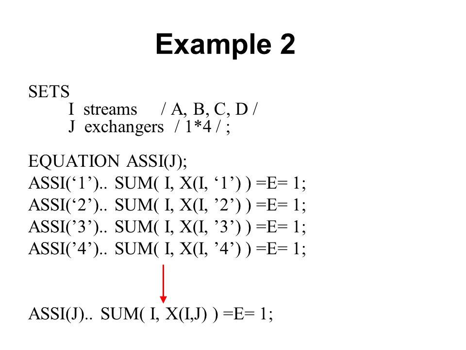Example 2 SETS I streams / A, B, C, D / J exchangers / 1*4 / ; EQUATION ASSI(J); ASSI('1').. SUM( I, X(I, '1') ) =E= 1; ASSI('2').. SUM( I, X(I, '2')