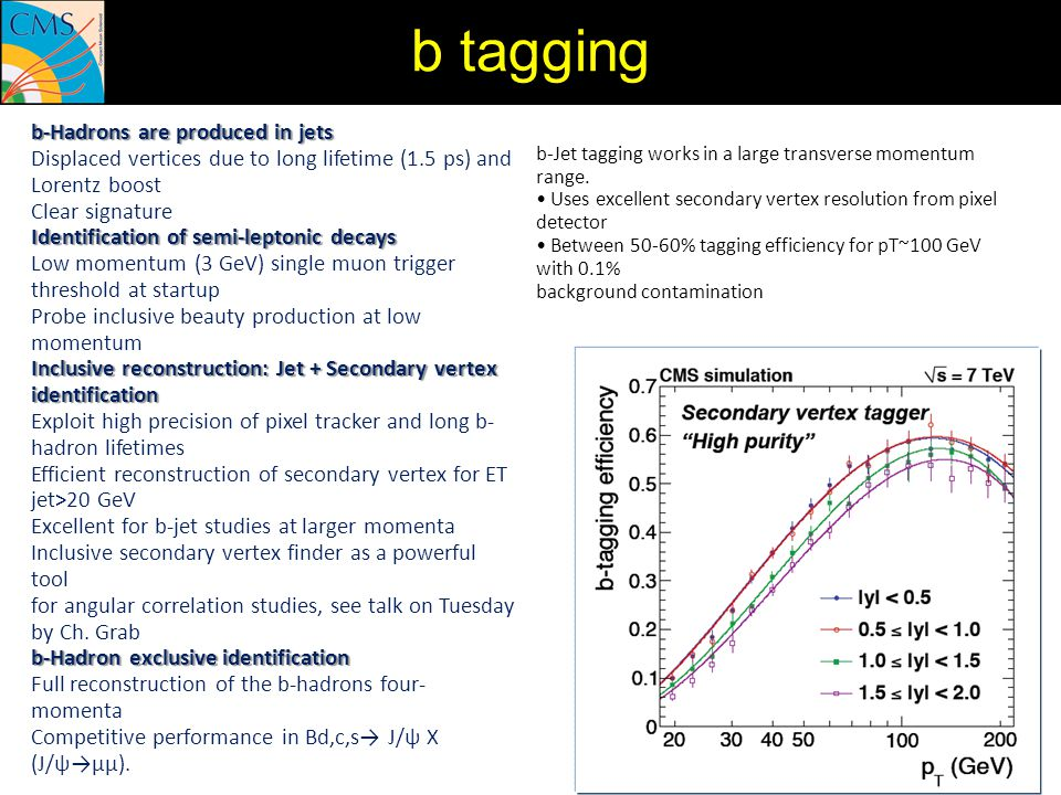 b-Jet tagging works in a large transverse momentum range. Uses excellent secondary vertex resolution from pixel detector Between 50-60% tagging effici