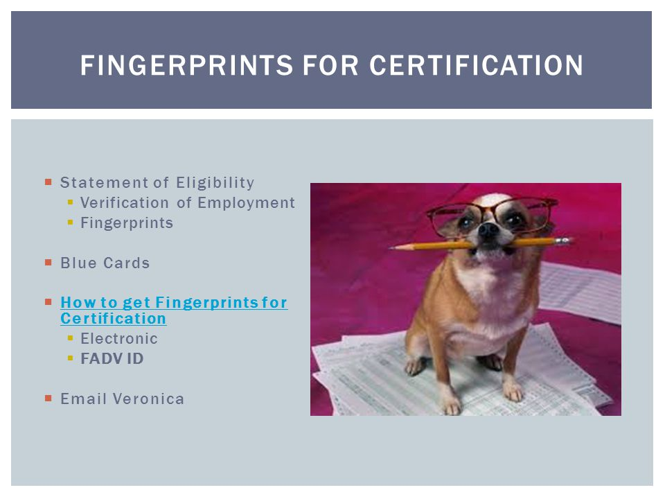  Statement of Eligibility  Verification of Employment  Fingerprints  Blue Cards  How to get Fingerprints for Certification How to get Fingerprints for Certification  Electronic  FADV ID  Email Veronica FINGERPRINTS FOR CERTIFICATION