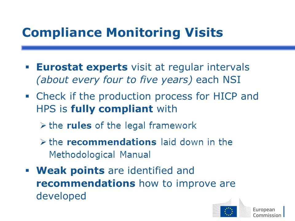 Compliance Monitoring Visits  Eurostat experts visit at regular intervals (about every four to five years) each NSI  Check if the production process