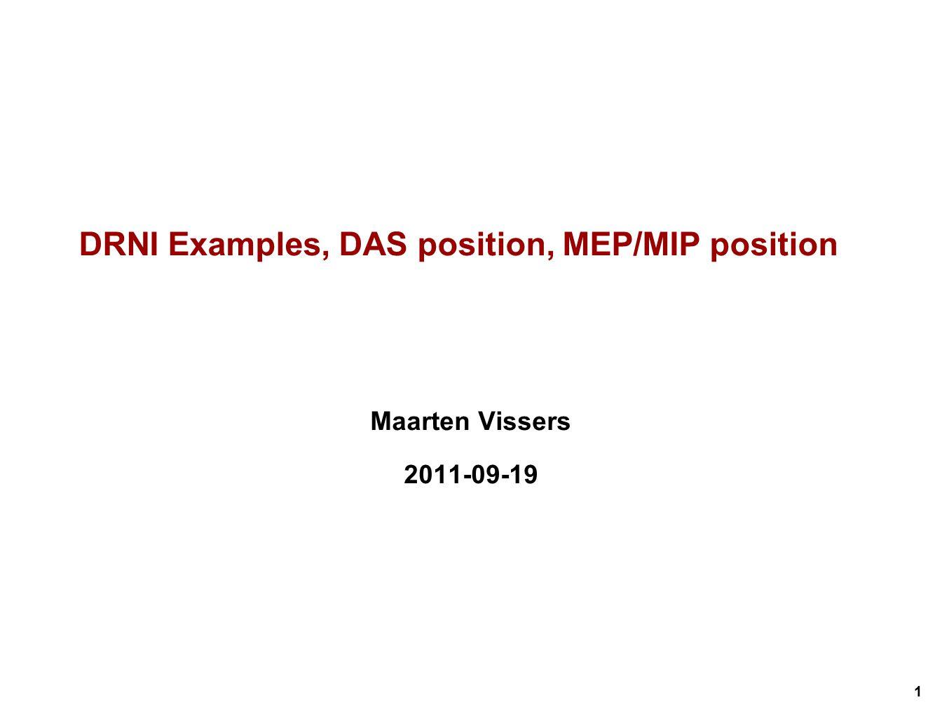 1 DRNI Examples, DAS position, MEP/MIP position Maarten Vissers 2011-09-19