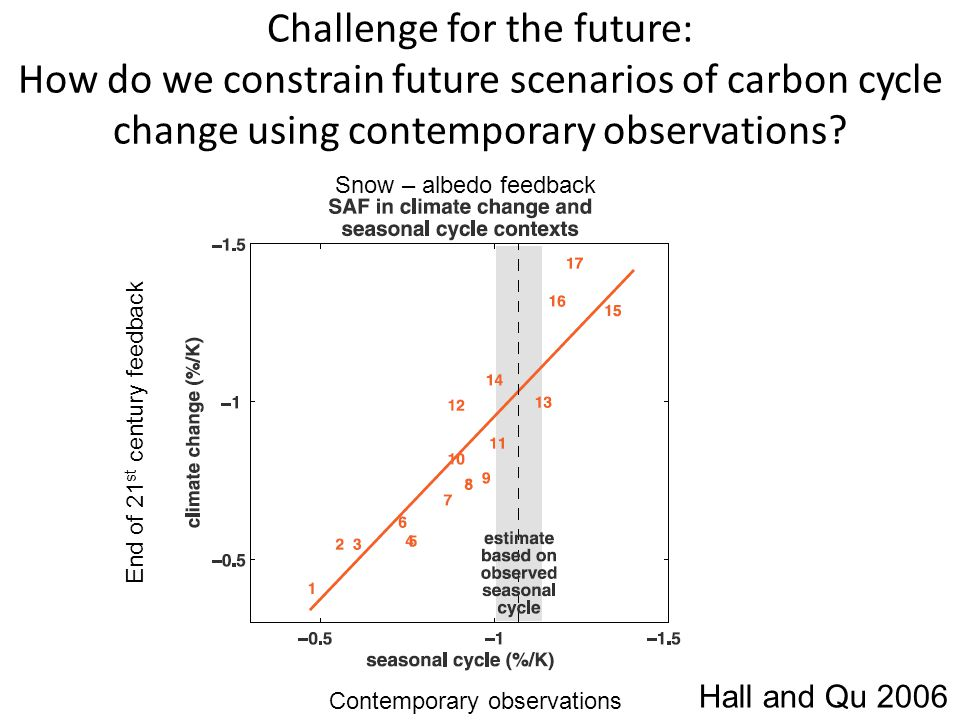 Challenge for the future: How do we constrain future scenarios of carbon cycle change using contemporary observations? Hall and Qu 2006 Snow – albedo