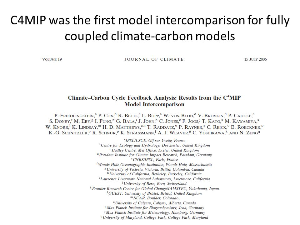 C4MIP was the first model intercomparison for fully coupled climate-carbon models