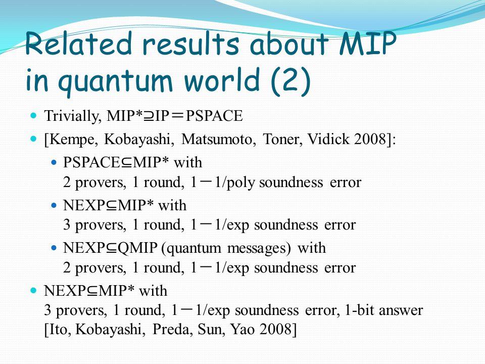 q1,q2,q3q1,q2,q3 qiqi a1,a2,a3a1,a2,a3 b VP1P1 P2P2 V Magic Square game a1a1 a2a2 a3a3 Oracularize Limit of independent sampling q 1,q 2,q 3 ∈ {1,…,9} |Ψ 〉 Each column has odd parity Each row has even parity