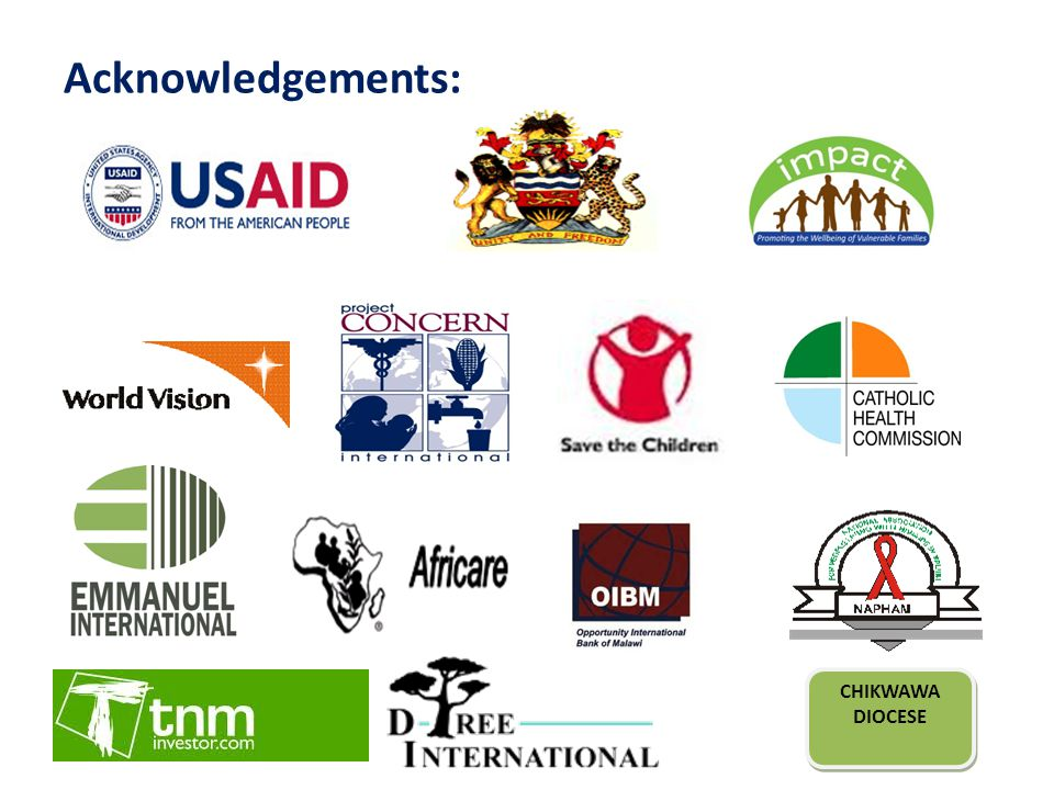 IMPACT Background USAID/PEPFAR-funded GDA serving 100,000 OVC and PLHIV, July 2010 - June 2014 Designed to complement WALA Program in 9 districts in central and southern regions Collaboration with Government of Malawi through MoGCSW, MoH, NAC & OPC/DNHA and US Peace Corps Improve wellbeing of OVC and increase access to treatment and care for PLHIV – SO1: Improved wellbeing of 60,000 OVC – SO2: Access to treatment and care for 40,000 PLHIV enhanced
