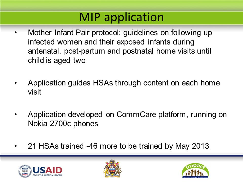 MIP application Mother Infant Pair protocol: guidelines on following up infected women and their exposed infants during antenatal, post-partum and pos
