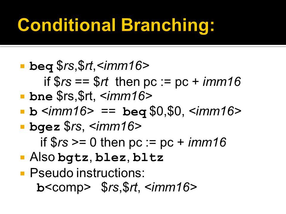  beq $rs,$rt, if $rs == $rt then pc := pc + imm16  bne $rs,$rt,  b == beq $0,$0,  bgez $rs, if $rs >= 0 then pc := pc + imm16  Also bgtz, blez, b