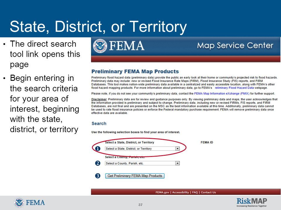 37 State, District, or Territory The direct search tool link opens this page Begin entering in the search criteria for your area of interest, beginning with the state, district, or territory