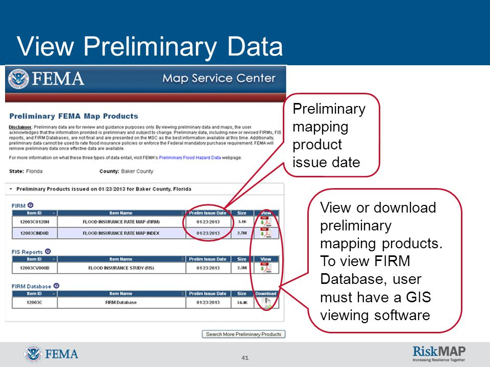 41 View Preliminary Data View or download preliminary mapping products.