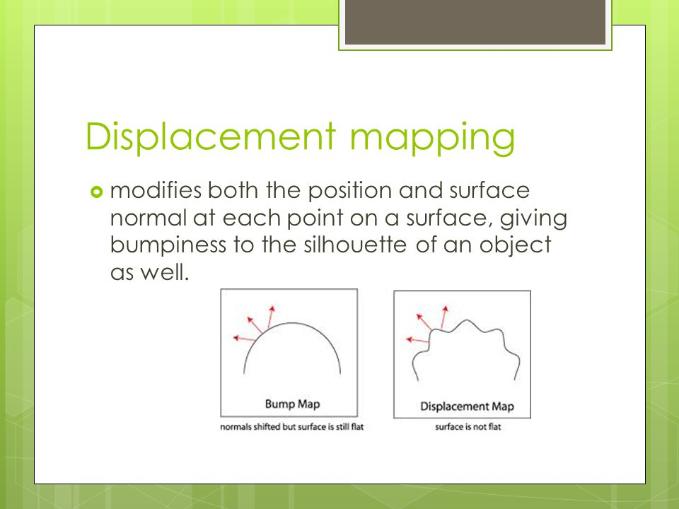 Displacement mapping  modifies both the position and surface normal at each point on a surface, giving bumpiness to the silhouette of an object as well.