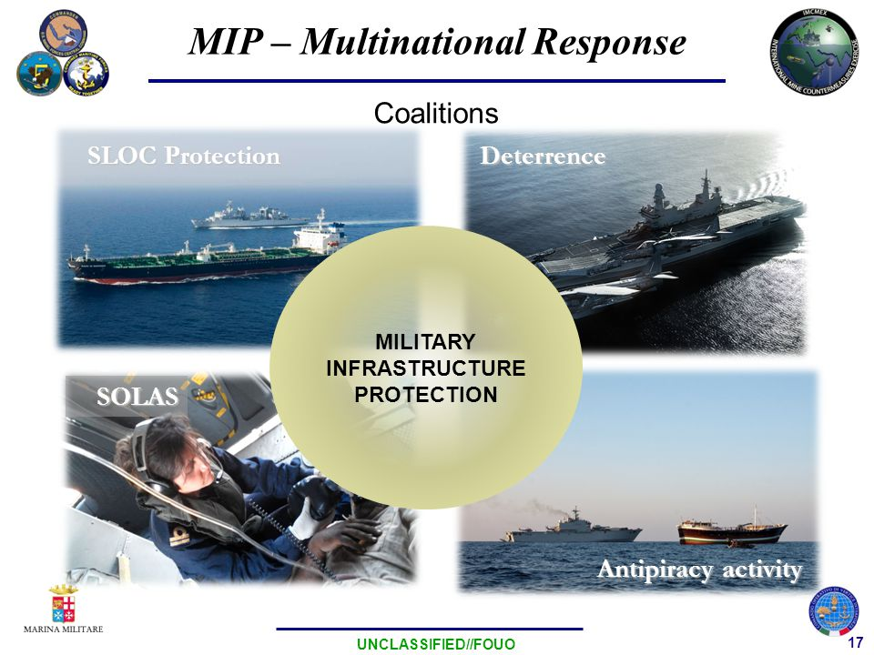 17 UNCLASSIFIED//FOUO Deterrence SOLAS SLOC Protection Antipiracy activity Coalitions MILITARY INFRASTRUCTURE PROTECTION MIP – Multinational Response