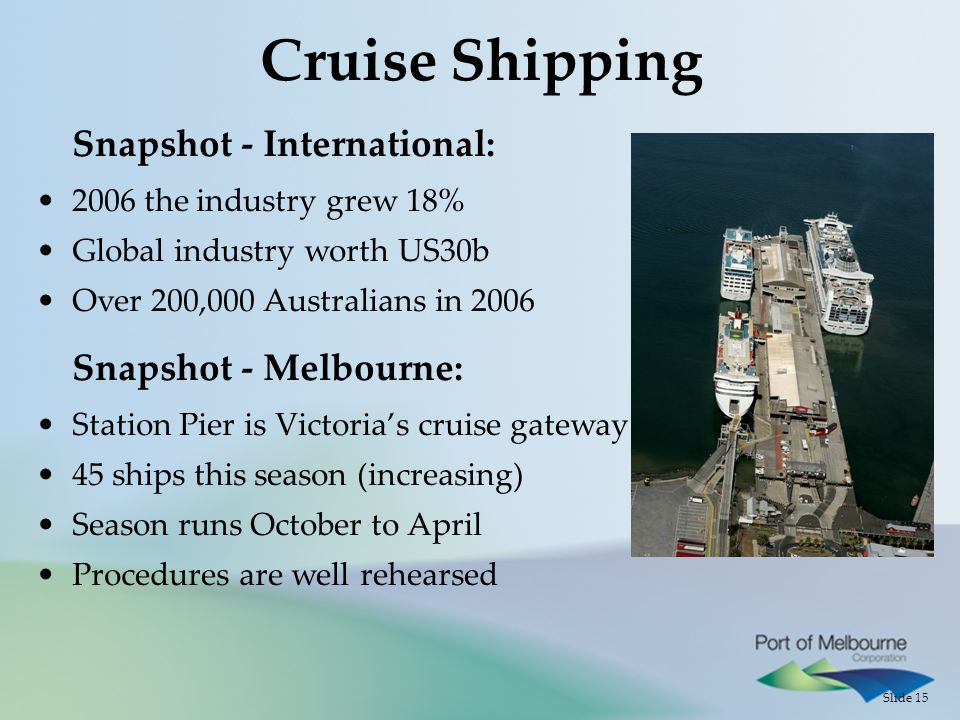 Slide 15 Cruise Shipping Snapshot - International: 2006 the industry grew 18% Global industry worth US30b Over 200,000 Australians in 2006 Snapshot - Melbourne: Station Pier is Victoria's cruise gateway 45 ships this season (increasing) Season runs October to April Procedures are well rehearsed