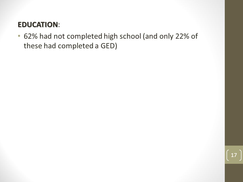 EDUCATION EDUCATION: 62% had not completed high school (and only 22% of these had completed a GED) 17