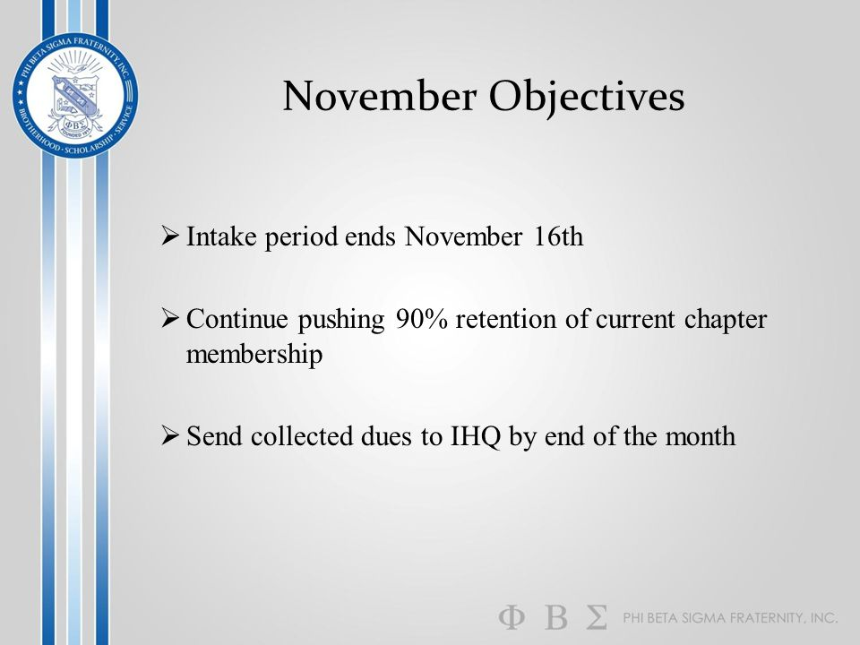 November Objectives  Intake period ends November 16th  Continue pushing 90% retention of current chapter membership  Send collected dues to IHQ by end of the month