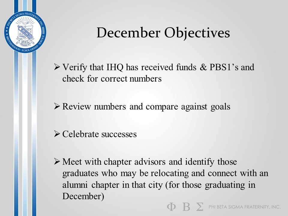 December Objectives  Verify that IHQ has received funds & PBS1's and check for correct numbers  Review numbers and compare against goals  Celebrate successes  Meet with chapter advisors and identify those graduates who may be relocating and connect with an alumni chapter in that city (for those graduating in December)