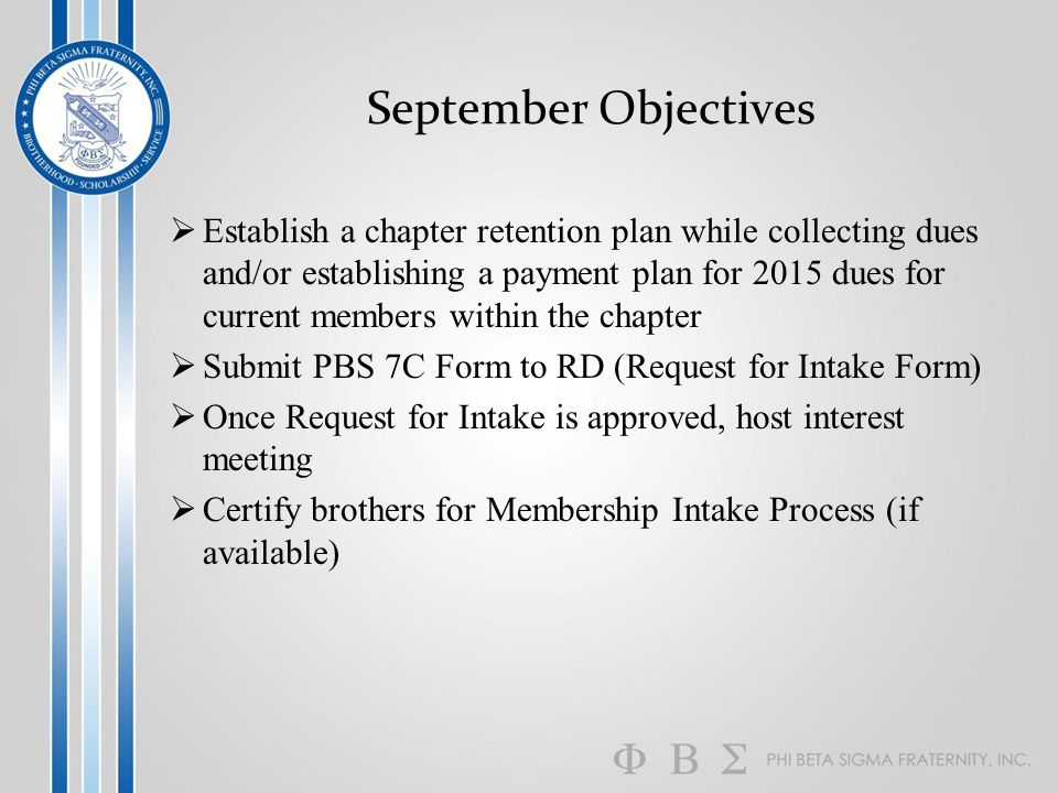 September Objectives  Establish a chapter retention plan while collecting dues and/or establishing a payment plan for 2015 dues for current members w