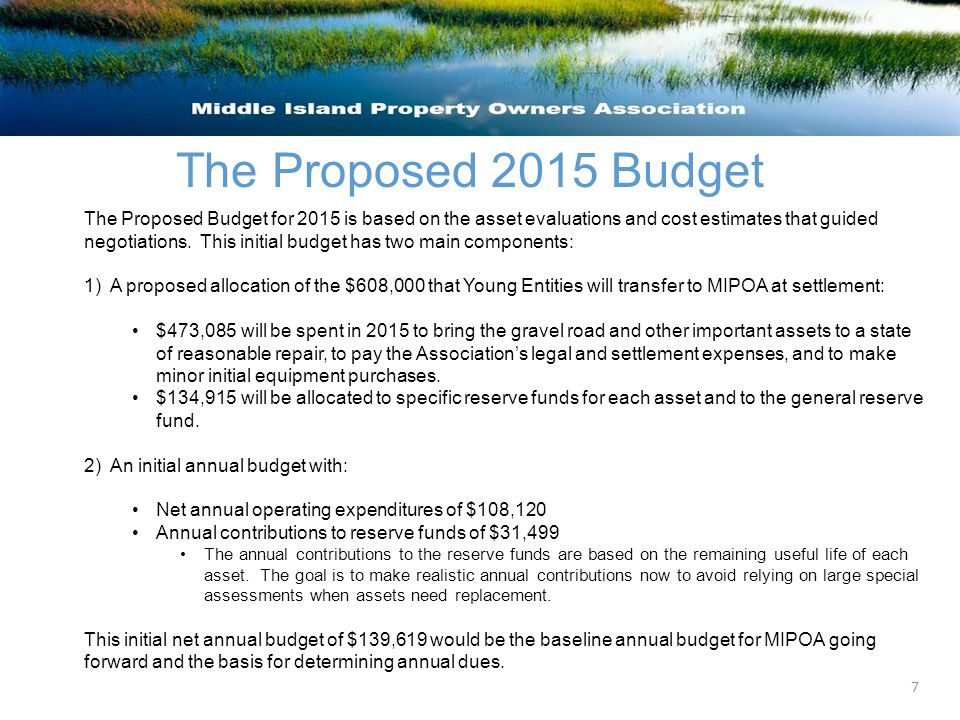 The Proposed 2015 Budget The Proposed Budget for 2015 is based on the asset evaluations and cost estimates that guided negotiations.
