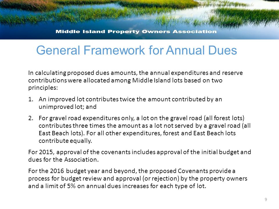 General Framework for Annual Dues In calculating proposed dues amounts, the annual expenditures and reserve contributions were allocated among Middle Island lots based on two principles: 1.An improved lot contributes twice the amount contributed by an unimproved lot; and 2.For gravel road expenditures only, a lot on the gravel road (all forest lots) contributes three times the amount as a lot not served by a gravel road (all East Beach lots).