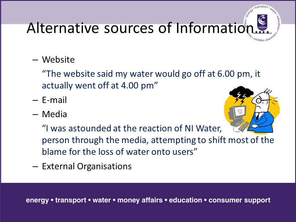 Alternative sources of Information….