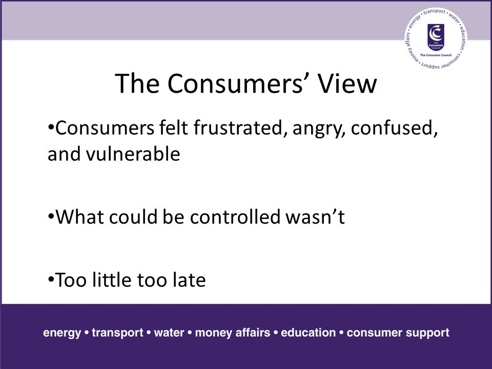 The Consumers' View Consumers felt frustrated, angry, confused, and vulnerable What could be controlled wasn't Too little too late