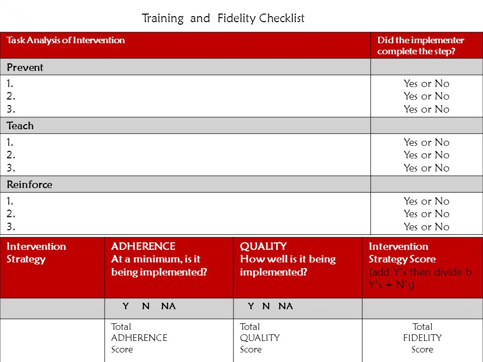 Training and Fidelity Checklist Task Analysis of InterventionDid the implementer complete the step.