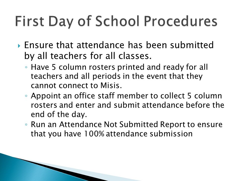  Ensure that attendance has been submitted by all teachers for all classes.
