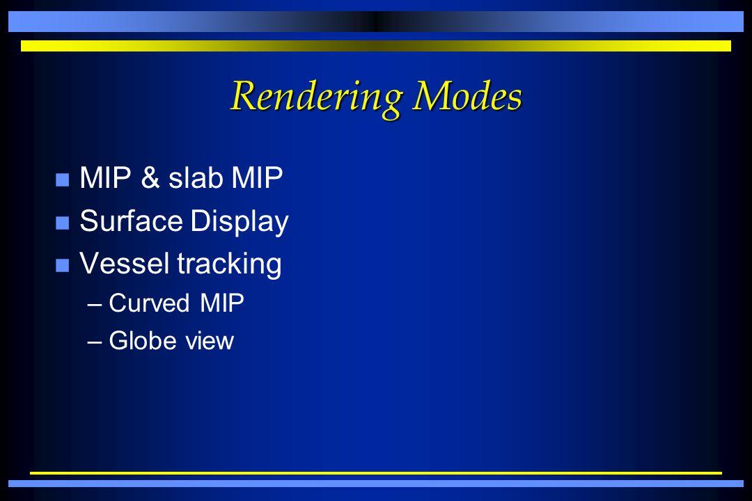 Rendering Modes n MIP & slab MIP n Surface Display n Vessel tracking –Curved MIP –Globe view