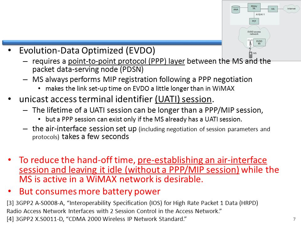 Evolution-Data Optimized (EVDO) – requires a point-to-point protocol (PPP) layer between the MS and the packet data-serving node (PDSN) – MS always performs MIP registration following a PPP negotiation makes the link set-up time on EVDO a little longer than in WiMAX unicast access terminal identifier (UATI) session.