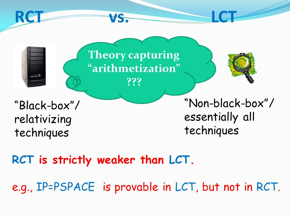 "RCT vs. LCT RCT is strictly weaker than LCT. e.g., IP=PSPACE is provable in LCT, but not in RCT. ""Black-box""/ relativizing techniques ""Non-black-box""/"