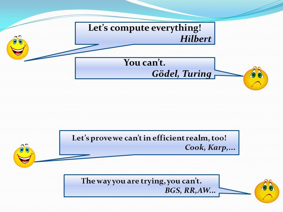 Proving unprovability 1900: Hilbert's program Let's axiomatize all of mathematics.