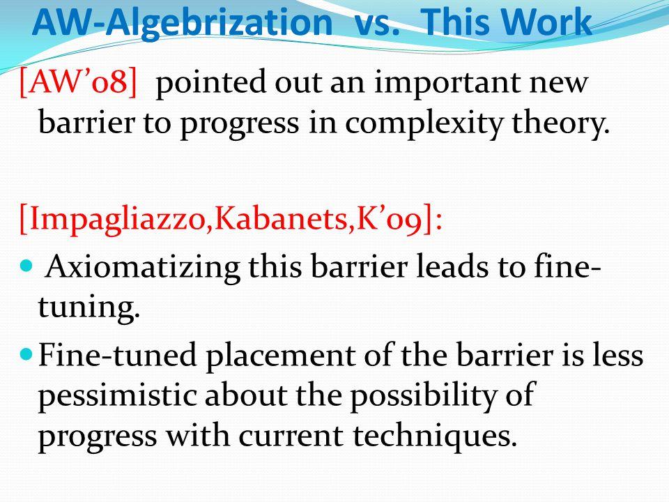 AW-Algebrization vs.