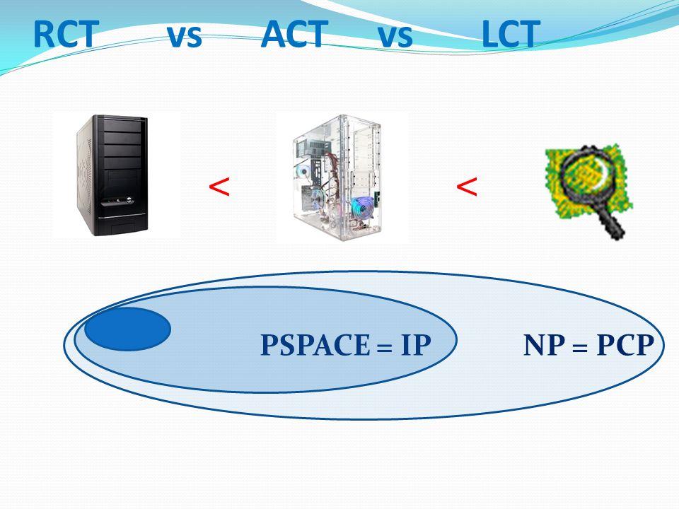 RCT vs ACT vs LCT << PSPACE = IPNP = PCP