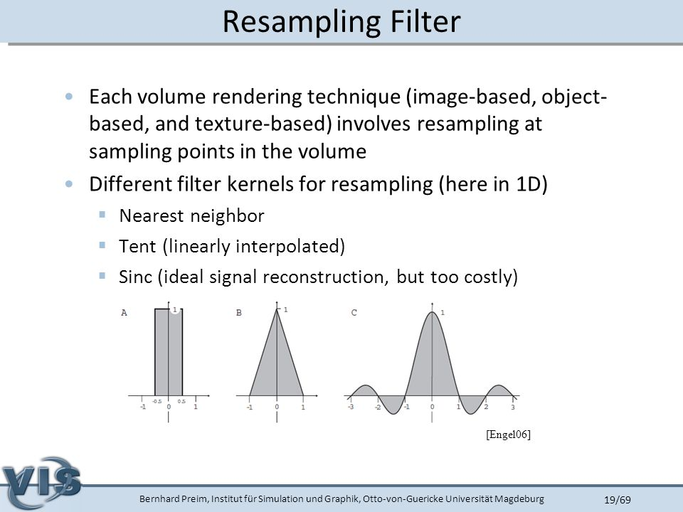 Bernhard Preim, Institut für Simulation und Graphik, Otto-von-Guericke Universität Magdeburg 19/69 Resampling Filter Each volume rendering technique (image-based, object- based, and texture-based) involves resampling at sampling points in the volume Different filter kernels for resampling (here in 1D)  Nearest neighbor  Tent (linearly interpolated)  Sinc (ideal signal reconstruction, but too costly) [Engel06]