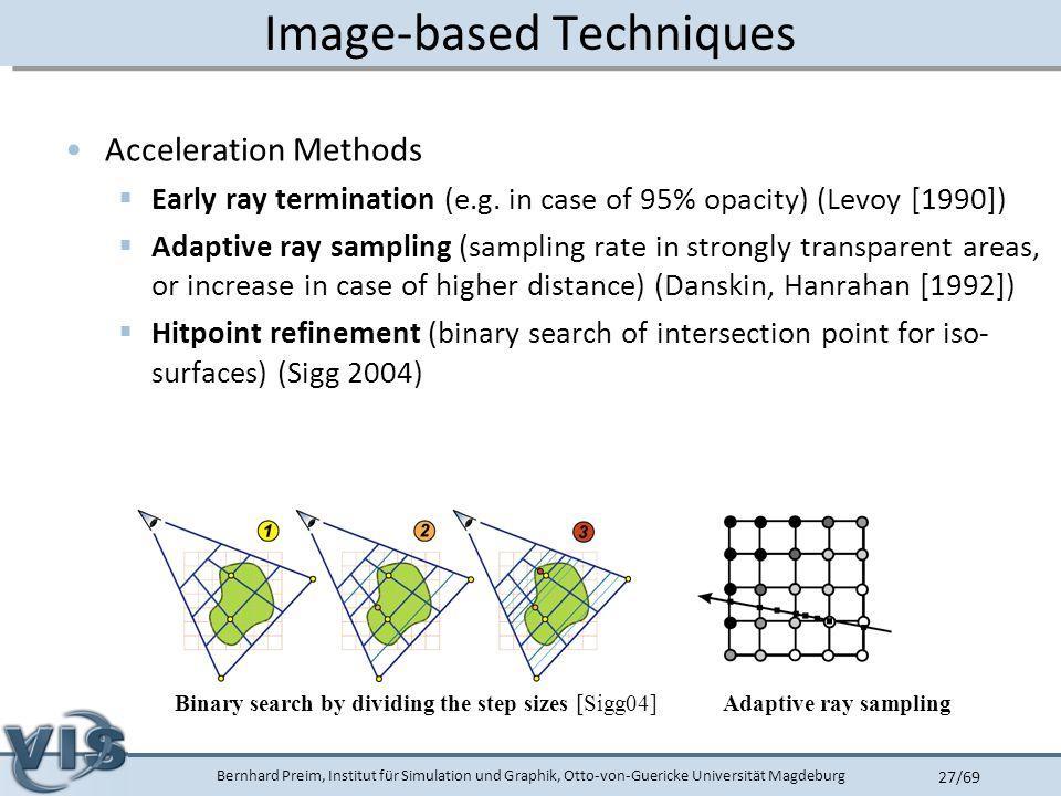 Bernhard Preim, Institut für Simulation und Graphik, Otto-von-Guericke Universität Magdeburg 27/69 Image-based Techniques Acceleration Methods  Early ray termination (e.g.