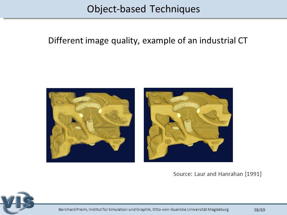 Bernhard Preim, Institut für Simulation und Graphik, Otto-von-Guericke Universität Magdeburg 38/69 Object-based Techniques Different image quality, example of an industrial CT Source: Laur and Hanrahan [1991]
