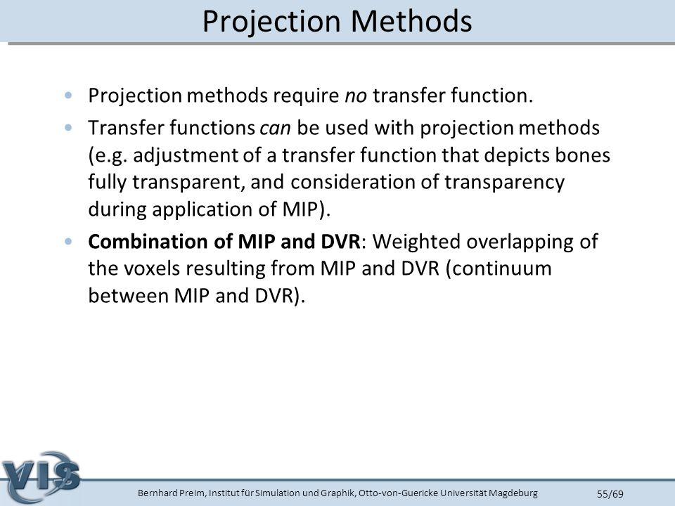 Bernhard Preim, Institut für Simulation und Graphik, Otto-von-Guericke Universität Magdeburg 55/69 Projection Methods Projection methods require no transfer function.