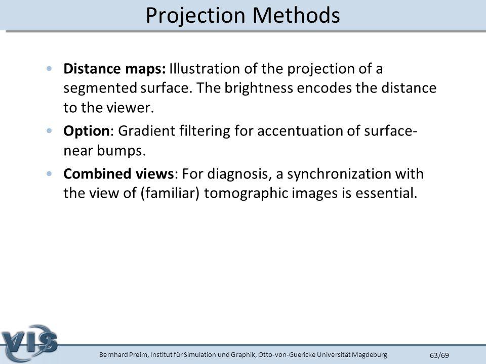 Bernhard Preim, Institut für Simulation und Graphik, Otto-von-Guericke Universität Magdeburg 63/69 Projection Methods Distance maps: Illustration of the projection of a segmented surface.