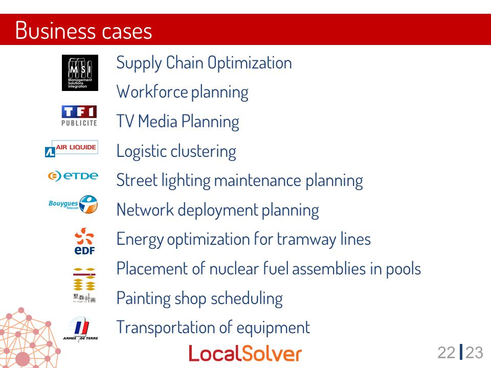 2223 Business cases  Supply Chain Optimization  Workforce planning  TV Media Planning  Logistic clustering  Street lighting maintenance planning  Network deployment planning  Energy optimization for tramway lines  Placement of nuclear fuel assemblies in pools  Painting shop scheduling  Transportation of equipment