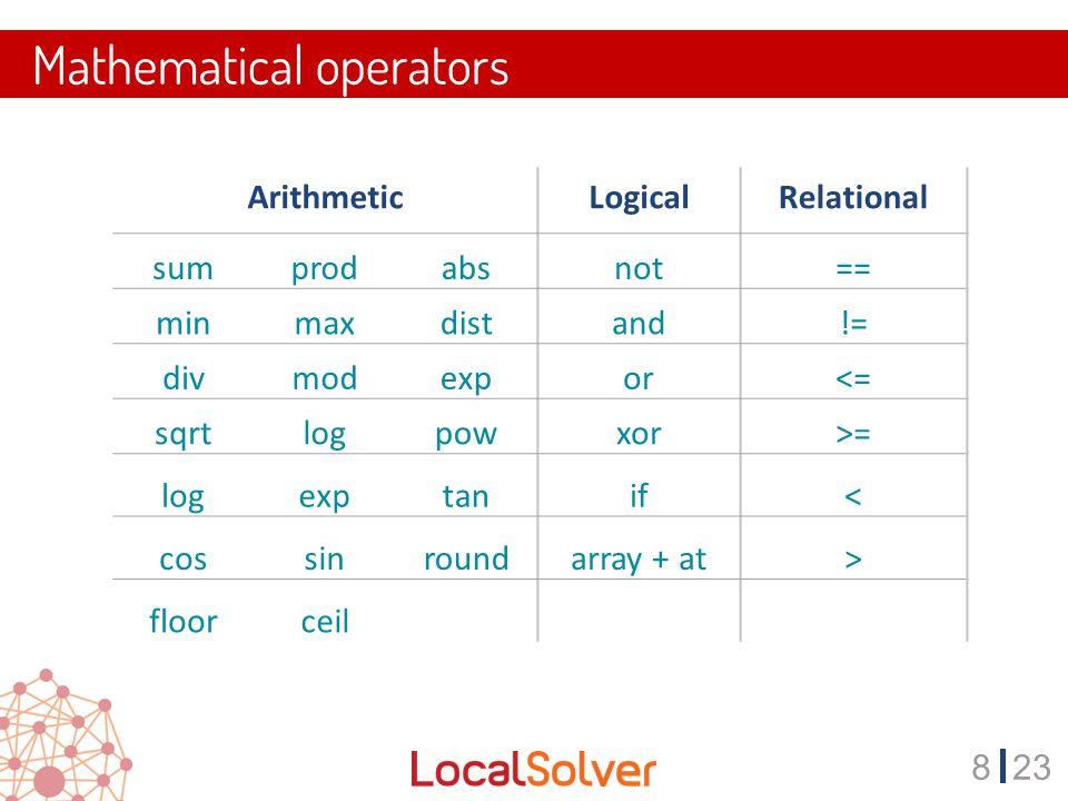 823 Mathematical operators ArithmeticLogicalRelational sumprodabsnot== minmaxdistand!= divmodexpor<= sqrtlogpowxor>= logexptanif< cossinroundarray + at> floorceil