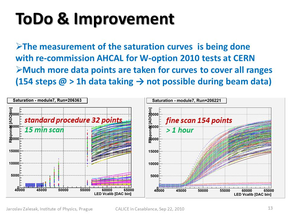 ToDo & Improvement  The measurement of the saturation curves is being done with re-commission AHCAL for W-option 2010 tests at CERN  Much more data points are taken for curves to cover all ranges (154 steps @ > 1h data taking → not possible during beam data) Jaroslav Zalesak, Institute of Physics, Prague 13 CALICE in Casablanca, Sep 22, 2010 fine scan 154 points > 1 hour standard procedure 32 points 15 min scan