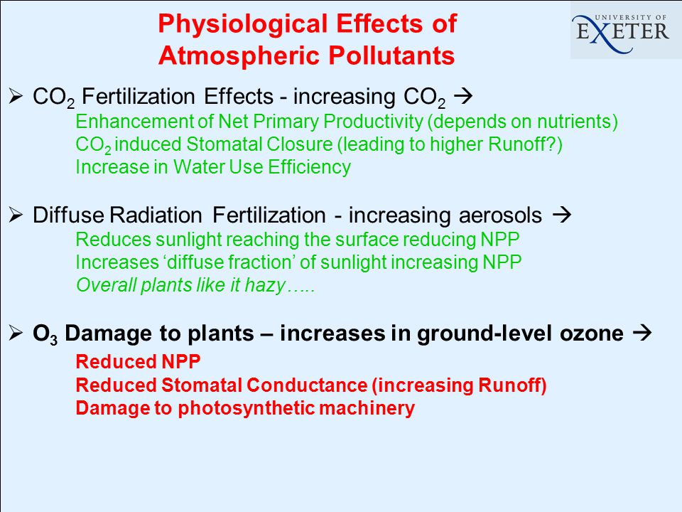 Physiological Effects of Atmospheric Pollutants  CO 2 Fertilization Effects - increasing CO 2  Enhancement of Net Primary Productivity (depends on n