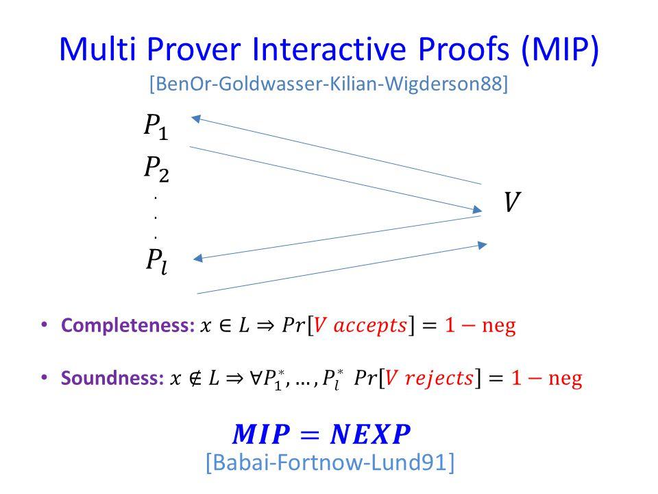 Multi Prover Interactive Proofs (MIP) [BenOr-Goldwasser-Kilian-Wigderson88]......