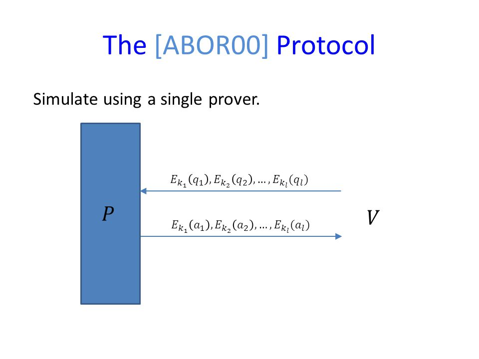 The [ABOR00] Protocol Simulate using a single prover.