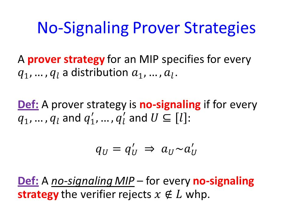 No-Signaling Prover Strategies