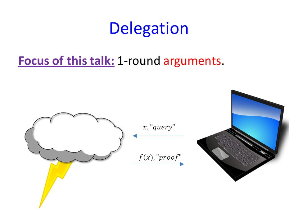 Delegation Focus of this talk: 1-round arguments.