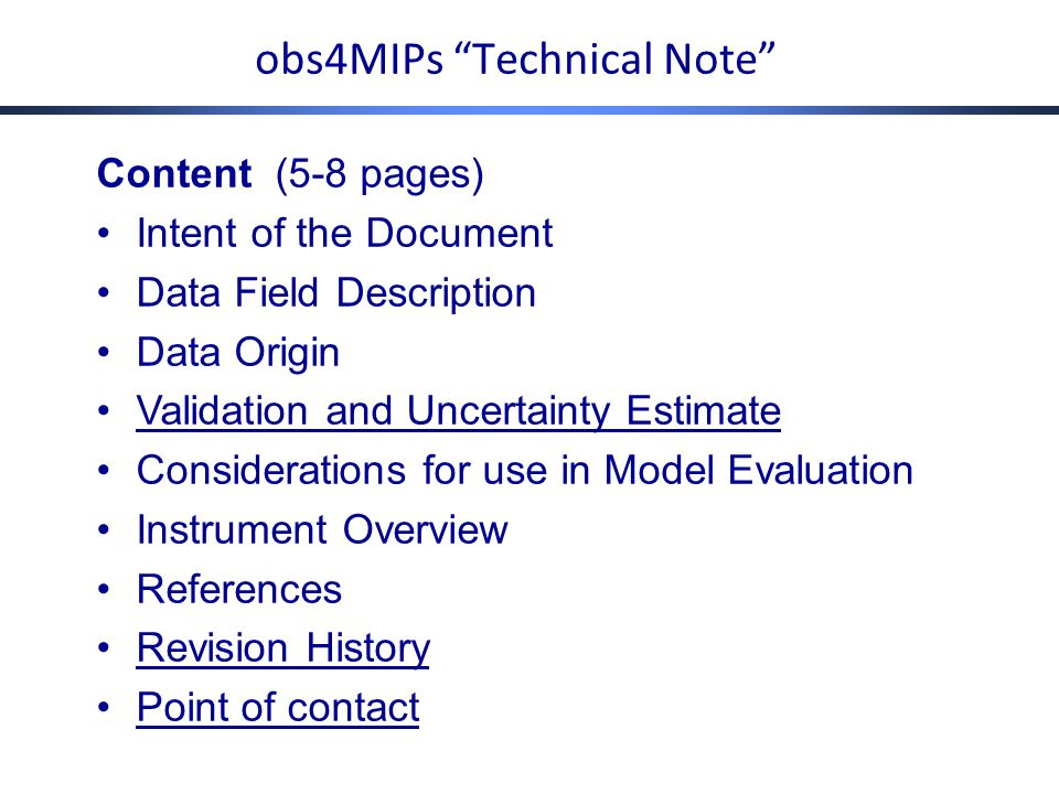 obs4MIPs-CMIP6 Planning Meeting Apr 29 – May 1, 2014 Example topics Some specific recommendations (what we were after!) More data sets – which ones, priority.