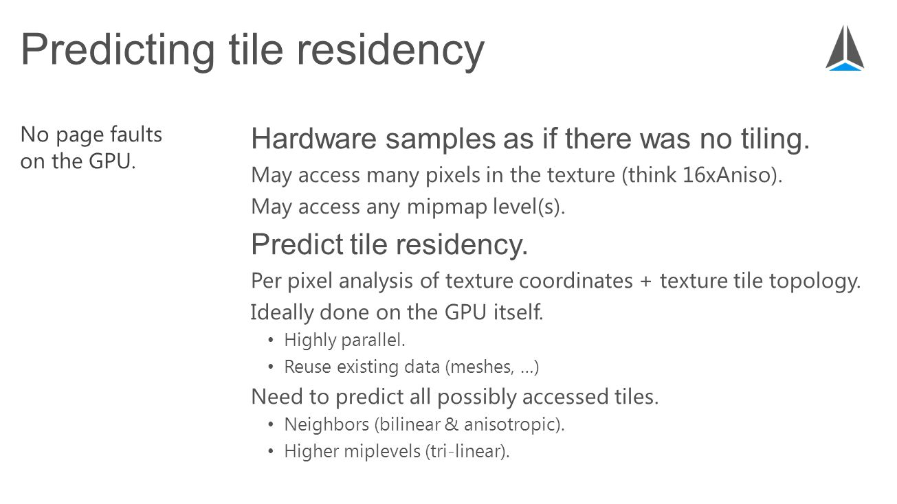 Hardware samples as if there was no tiling. May access many pixels in the texture (think 16xAniso).