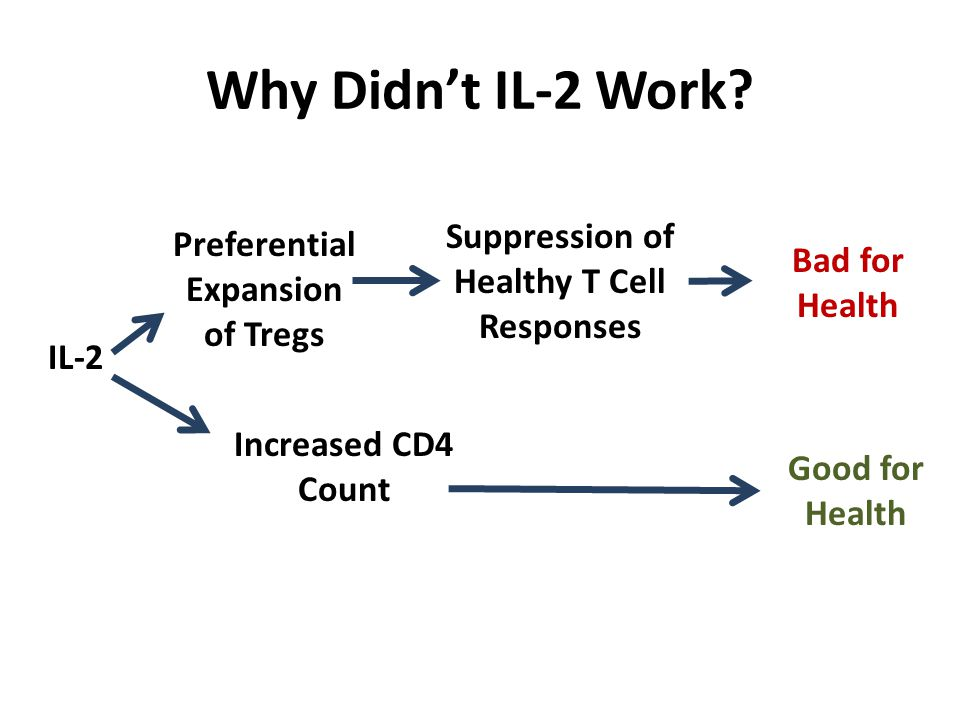 Why Didn't IL-2 Work? IL-2 Preferential Expansion of Tregs Suppression of Healthy T Cell Responses Increased CD4 Count Good for Health Bad for Health