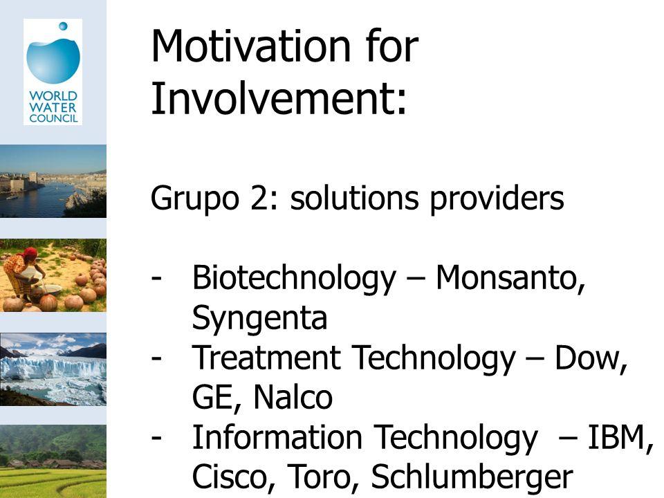 Motivation for Involvement: Grupo 2: solutions providers -Biotechnology – Monsanto, Syngenta -Treatment Technology – Dow, GE, Nalco -Information Technology – IBM, Cisco, Toro, Schlumberger